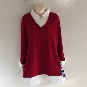 Karen Scott Red Amore 100% Cotton Collared 2fer 1X